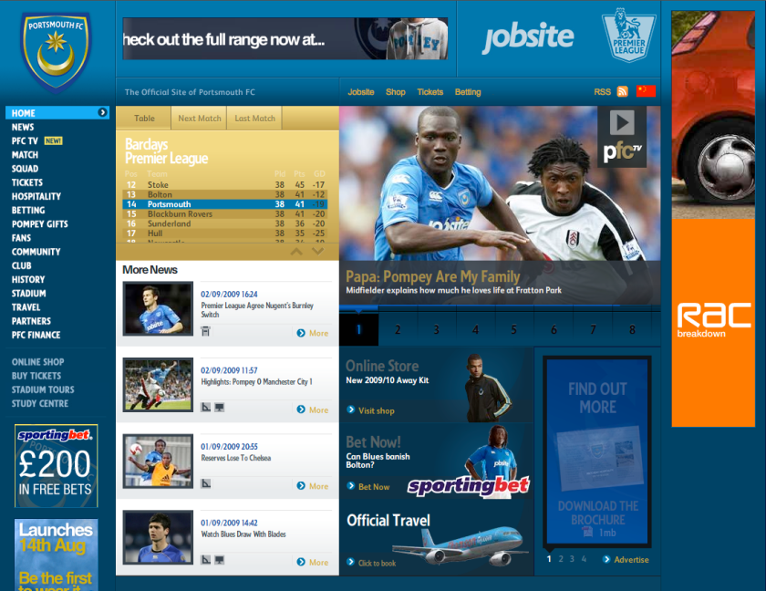 Portsmouth FC homepage